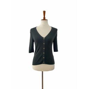 ZARA Snap Front V Neck Sweater Top Green Medium